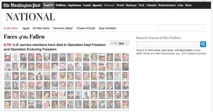 """Faces Of The Fallen"" screen shot from the Washington Post website, all rights reserved"